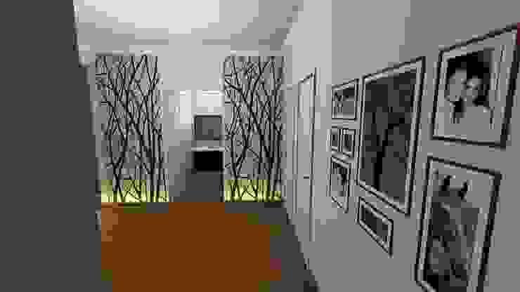 Aida tropeano& Asociados Couloir, entrée, escaliers modernes Bois Ambre/Or