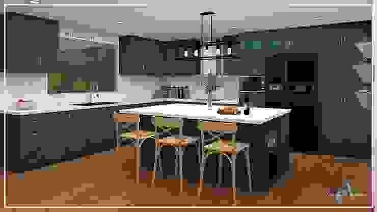 DISEÑO COCINA ✨ Cocinas de estilo moderno de Arisu Cavero - Arquitectura de Interiores Moderno