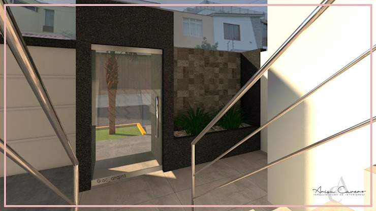 DISEÑO FACHADA – LOBBY ✨ Balcones y terrazas modernos de Arisu Cavero - Arquitectura de Interiores Moderno