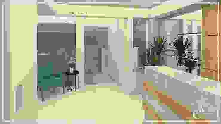 DISEÑO FACHADA – LOBBY ✨ Salas modernas de Arisu Cavero - Arquitectura de Interiores Moderno