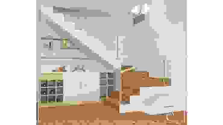 DISEÑO PILOTO COCINAS – ESCALERA ✨ Pasillos, vestíbulos y escaleras modernos de Arisu Cavero - Arquitectura de Interiores Moderno