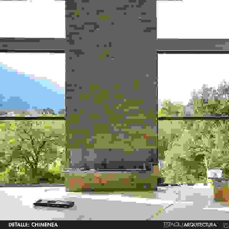 DETALLE CHIMENEA Salones minimalistas de Espacio Arquitectura Minimalista Piedra