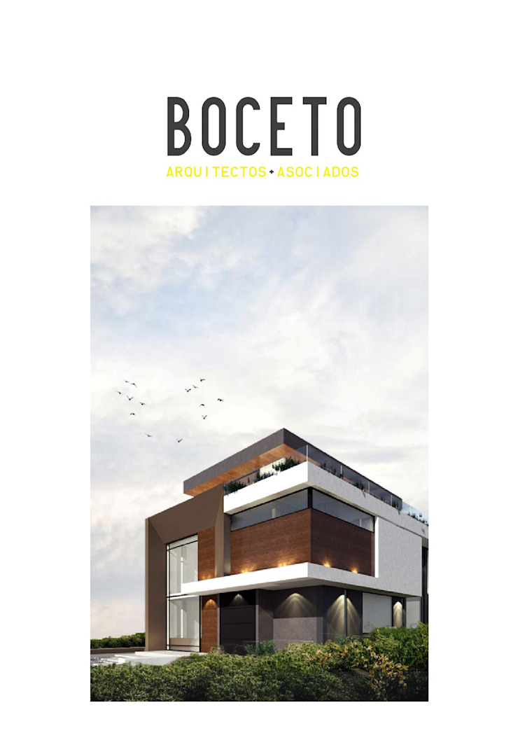 FACHADA PRINCIPAL CASA ALTOS DE ALEJANDRIA de BOCETO ARQUITECTOS+ASOCIADOS Moderno Madera Acabado en madera
