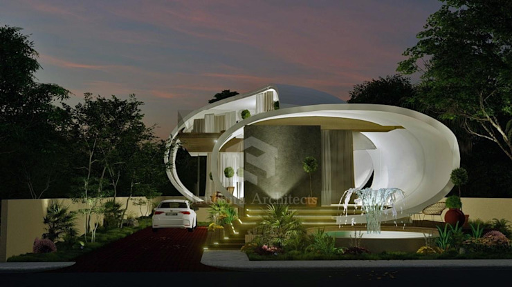 Retro-Futuristic Home by Structura Architects Modern Concrete