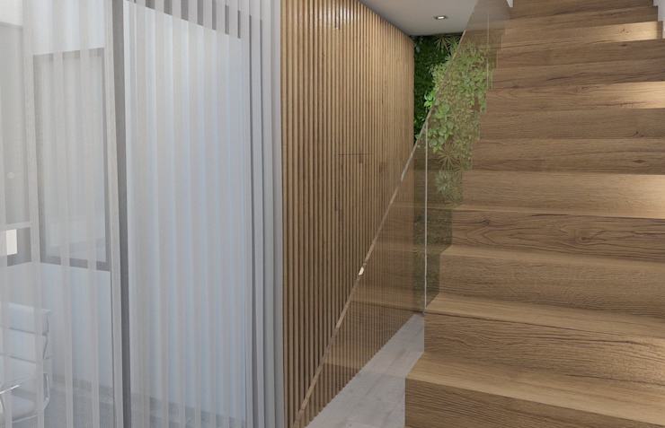 Apresentação do resultado final... Corredores, halls e escadas modernos por Casactiva Interiores Moderno