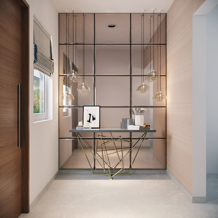 homify Modern corridor, hallway & stairs Plywood Beige