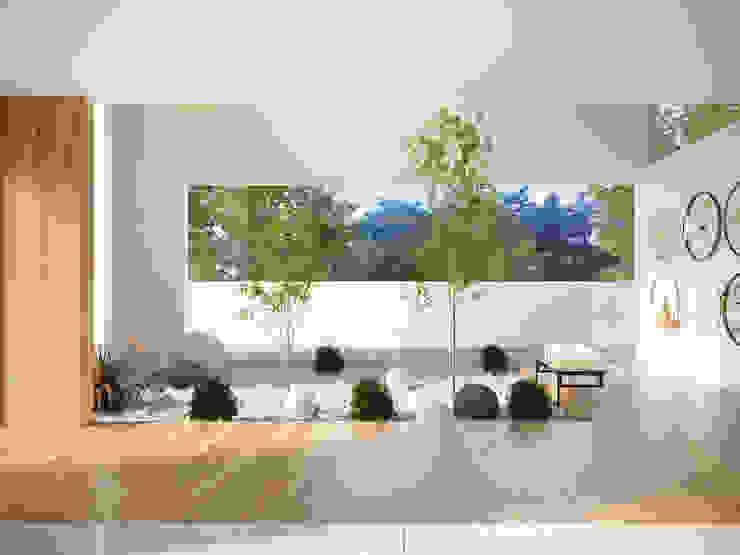 Jardín interior de AMÁNDALA PERUSQUÍA Minimalista Piedra