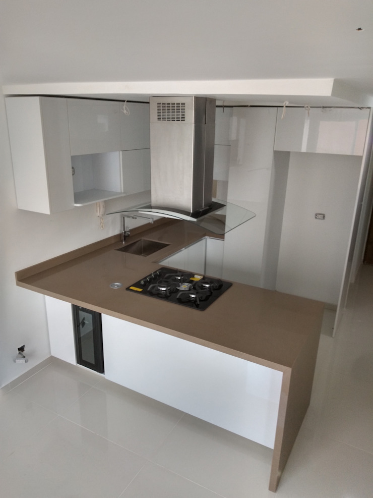 Proyecto de cocina realizado en bochalema en la ciudad de cali en la unidad las cascadas de la bocha de Cocinas integrales AC Minimalista