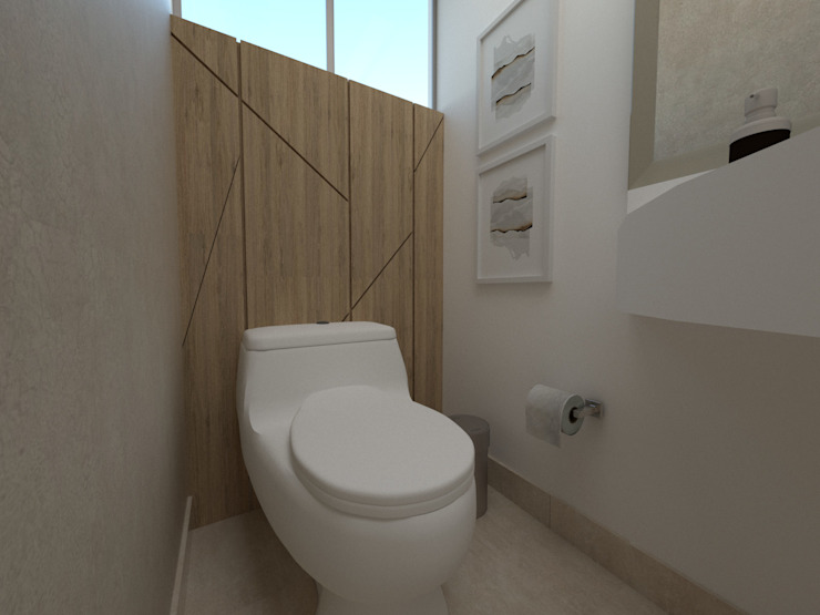 Proy. Av. Central|Baño de visita Baños modernos de KIARA NOVOA INTERIORISTA Moderno