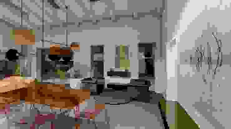 Vista serale del living Teresa Romeo Architetto Sala da pranzo moderna Rame / Bronzo / Ottone Nero