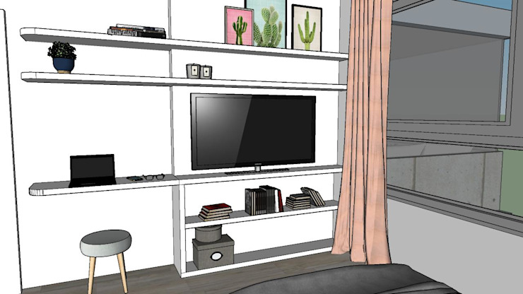 NB INTERIORES Industrial style bedroom Wood White