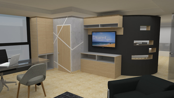 Mueble - Pared multifuncional de MAS ARQUITECTURA1 - Arq. Marynes Salas Moderno