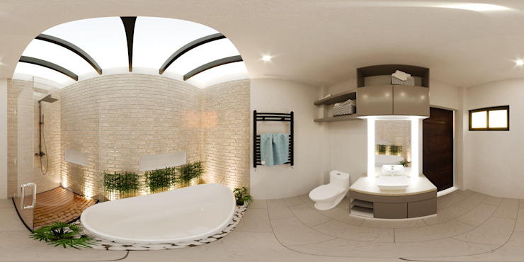 Toilet and Bath Modern bathroom by Kenchiku 2600 Architectural Design Services Modern Bamboo Green