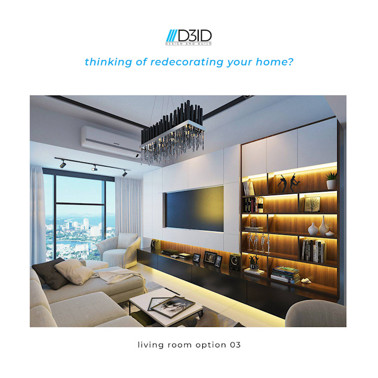 Living Room Design Ideas by D3ID Design and Build