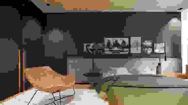 Suíte moderna preta com madeira Quartos minimalistas por Saulo Magno Arquiteto Minimalista Madeira Efeito de madeira