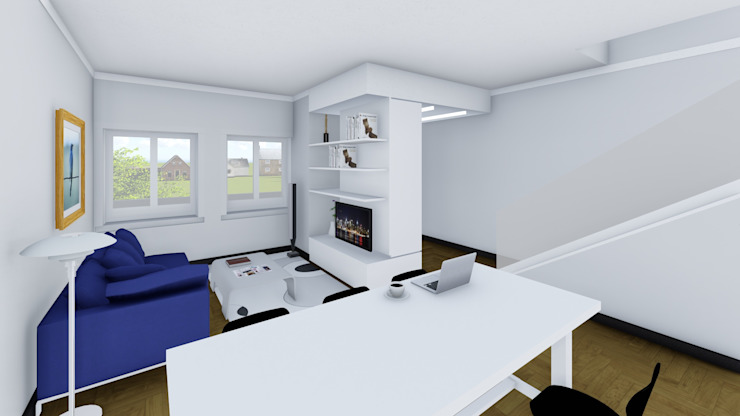 Render degli interni - la zona giorno Soggiorno moderno di Studio Dalla Vecchia Architetti Moderno