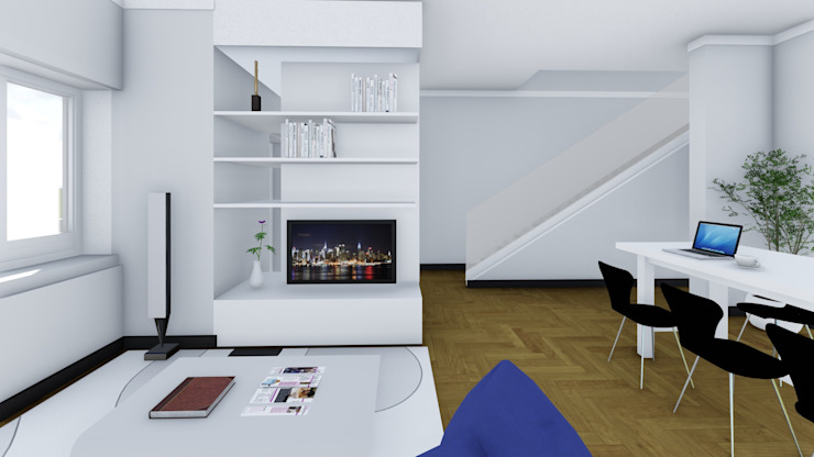 Render degli interni - salotto Soggiorno moderno di Studio Dalla Vecchia Architetti Moderno