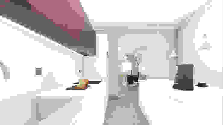 Render degli interni - la cucina di Studio Dalla Vecchia Architetti Moderno