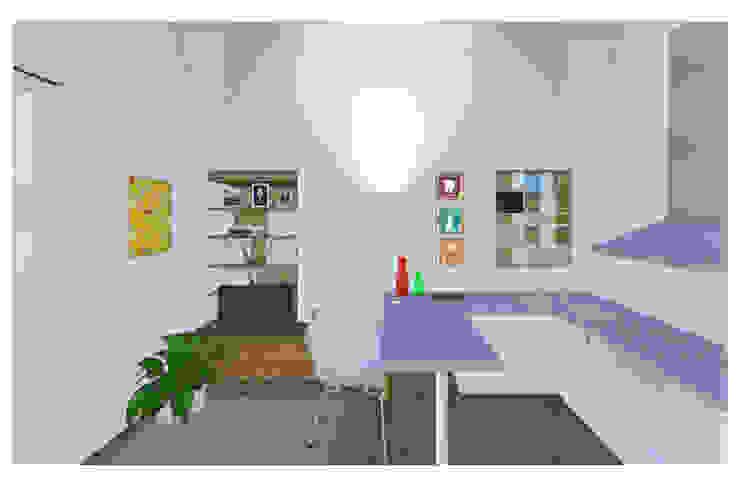 render interni - miniappartamento Studio Dalla Vecchia Architetti Cucina piccola