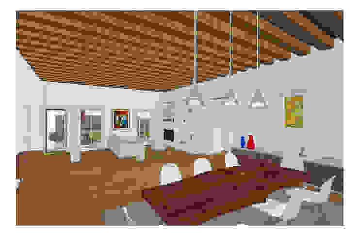 Abitazione su due livelli Studio Dalla Vecchia Architetti Sala da pranzo moderna