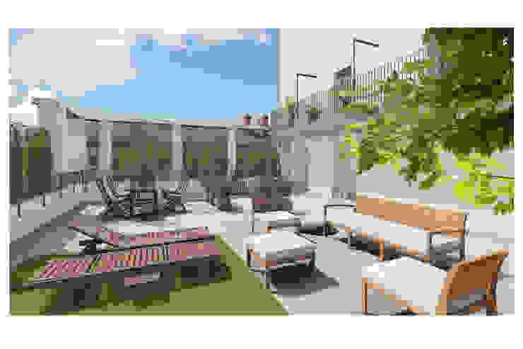 Abitazione su due livelli Studio Dalla Vecchia Architetti Balcone, Veranda & Terrazza in stile moderno