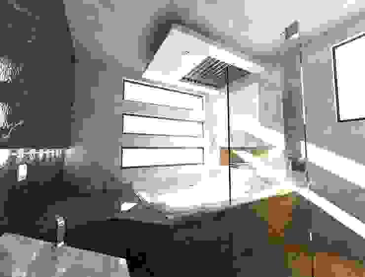 JACUZZI REC PRINCIPAL 3D CESAR MONCADA SALAZAR (L2M ARQUITECTOS S DE RL DE CV) Baños minimalistas