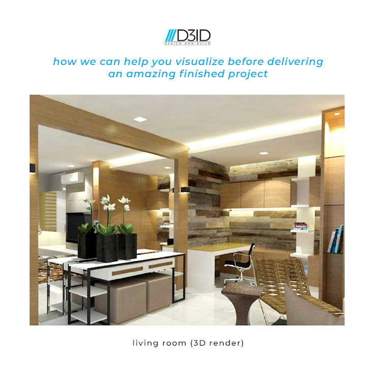 Render to Actual - Living room project by D3ID Design and Build Modern Wood Wood effect