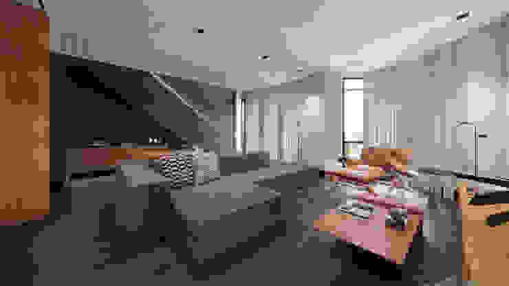 Sala com acabamentos neutros e mobiliários de tons quentes Salas de estar minimalistas por Saulo Magno Arquiteto Minimalista Madeira Efeito de madeira