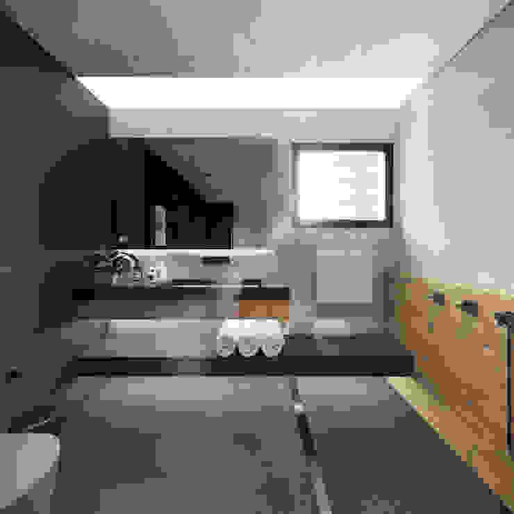 Banheiro Suíte - amplo e com contrastes Banheiros minimalistas por Saulo Magno Arquiteto Minimalista Azulejo