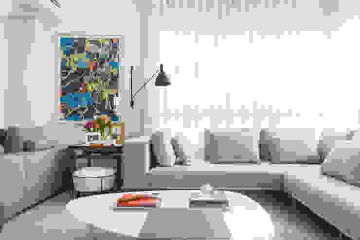Michelle Machado Arquitetura Salon minimaliste Verre Blanc
