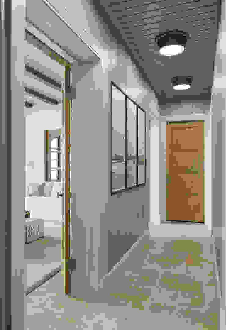 MARION STUDIO Mediterranean corridor, hallway & stairs