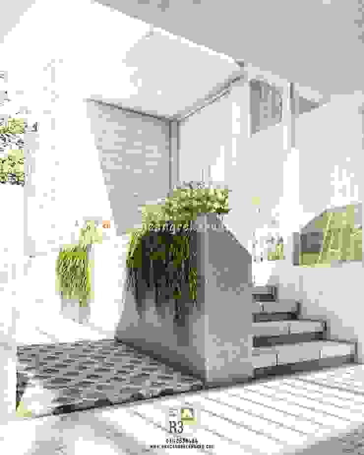 Omah Q-Nanthi - Ibu Novi - Bantul, Yogyakarta Balkon, Beranda & Teras Minimalis Oleh Rancang Reka Ruang Minimalis Beton