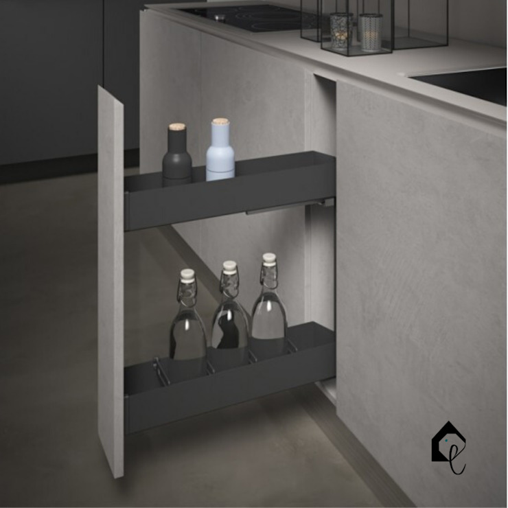 Pull-Out Bottle Rack 150mm | Orione Collection Equipoise Living (eqpliving.com) KitchenCabinets & shelves Aluminium/Zinc Grey