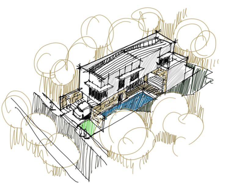 Aerial view form sketch study of the house by JAAL Builders Scandinavian