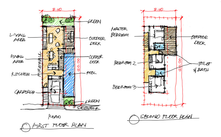 Sketch plans for initial discussions with client by JAAL Builders Scandinavian
