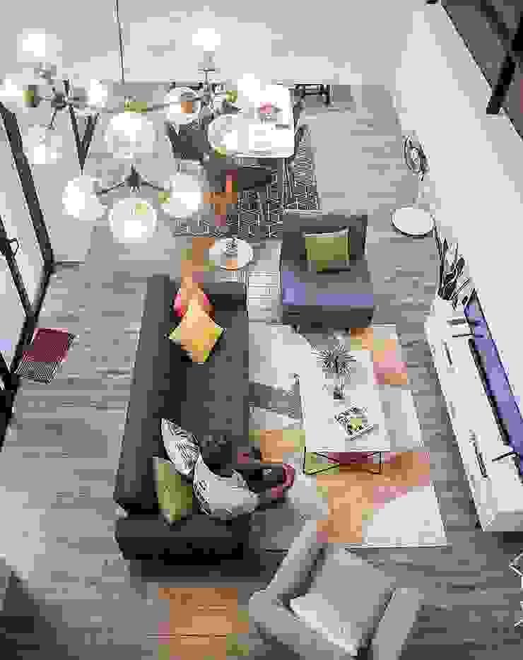 View of ground floor common spaces from 2nd floor hallway by JAAL Builders Scandinavian
