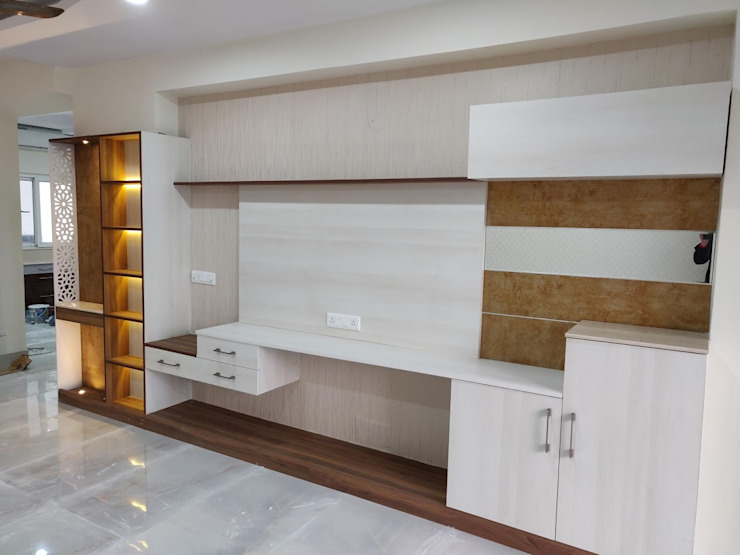 Living romm TV unit: modern  by Design Kreations,Modern Plywood