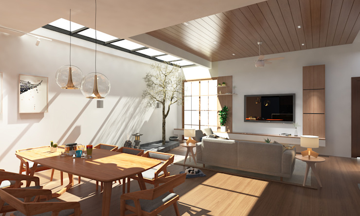 W33 Design Studio Asian style dining room Wood effect
