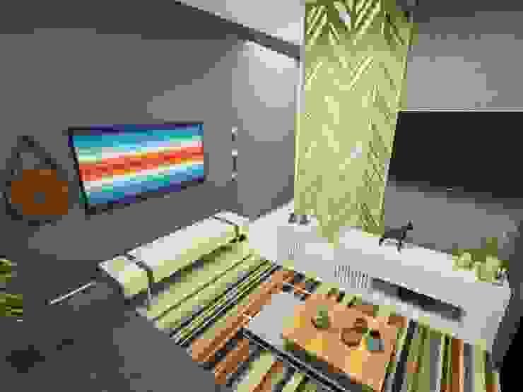 3D Vista Interna Parro Engenharia e Projetos Salas de estar modernas