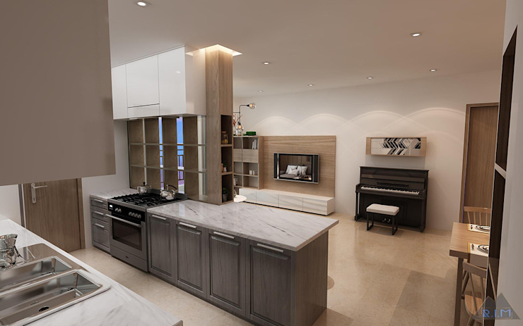 Thiết kế nội thất căn hộ Sunrise City Apartment Công ty trang trí nội thất RIM Decor Nhà bếp phong cách hiện đại