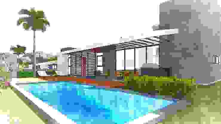 Casa Modelo 01 - Térrea - Vista Fundos ARUS Associados Ltda. Casas modernas Multi colorido