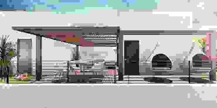 G._ALARQ + TAGA Arquitectos Patios & Decks Iron/Steel White