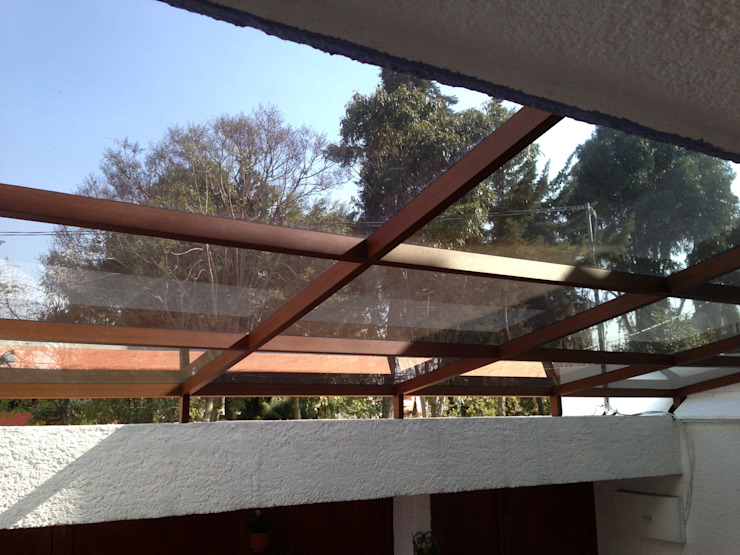 Casa Satélite Merkalum Galerías Vidrio Acabado en madera