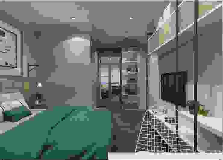 Thiết kế nội thất căn hộ Vista Verde Apartment Phòng ngủ phong cách mộc mạc bởi Công ty trang trí nội thất RIM Decor Mộc mạc