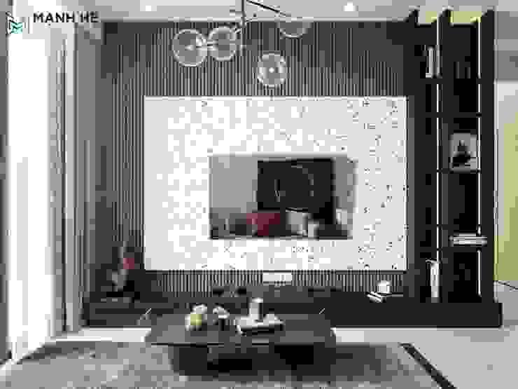 kệ tivi liền tủ trang trí với phần tường ốp đá sang trọng Công ty TNHH Nội Thất Mạnh Hệ Phòng khách