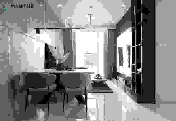 Không gian nội thất phòng khách nhìn từ quầy bar Công ty TNHH Nội Thất Mạnh Hệ Tủ bếp