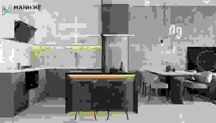 Không gian bếp ăn chung cư đằng cấp Công ty TNHH Nội Thất Mạnh Hệ Nhà bếp phong cách hiện đại