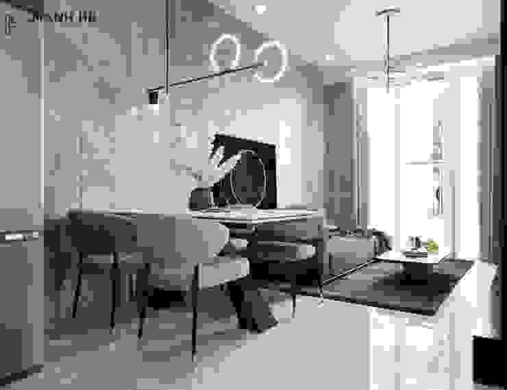 Không gian nội thất phòng khách liền bếp ăn Công ty TNHH Nội Thất Mạnh Hệ Phòng khách