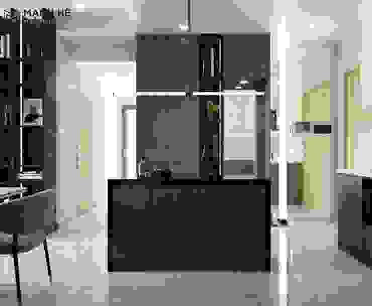 Sử dụng gỗ công nghiệp vân gỗ màu tối làm chủ đạo Công ty TNHH Nội Thất Mạnh Hệ Phòng ăn phong cách hiện đại