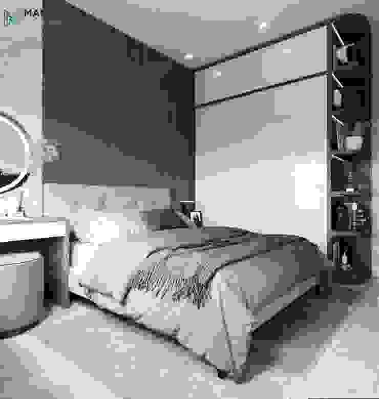 Đầu giường phòng ngủ ốp gỗ sang trọng Công ty TNHH Nội Thất Mạnh Hệ Phòng ngủ nhỏ